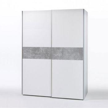 Kledingkast Wouter 170cm met 2 deuren - wit/beton