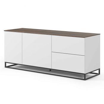 Dressoir Join 160cm met metalen onderstel, 2 deuren en 2 laden - mat wit/walnoot