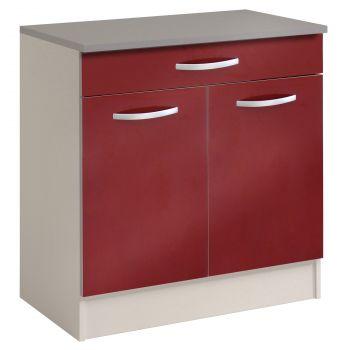 Onderkast Spoon 80 cm met 1 lade en 2 deuren - glossy red