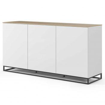 Dressoir Join 180cm hoog model met metalen onderstel en 3 deuren - mat wit/eik