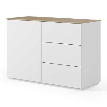Dressoir Join 120cm met 1 deur en 3 laden - mat wit/eik