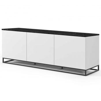 Dressoir Join 180cm laag model met metalen onderstel en 3 deuren - mat wit/zwart marmer