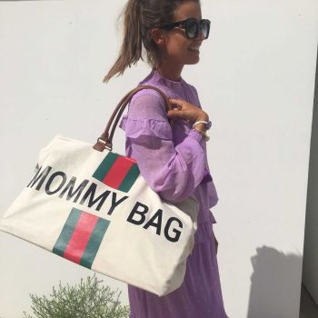 Luiertas Mommy Bag met strepen - ecru/groen