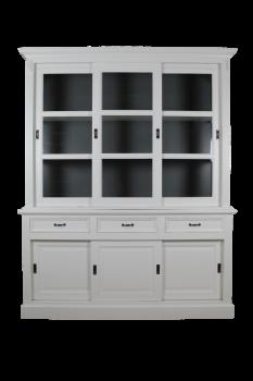 Buffetkast Provence 180 cm met 6 deuren & 3 lades - wit/donkergrijs