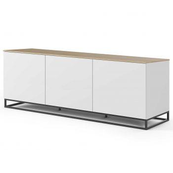 Dressoir Join 180cm laag model met metalen onderstel en 3 deuren - mat wit/eik