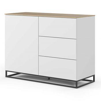 Dressoir Join 120cm met metalen onderstel, 1 deur en 3 laden - mat wit/eik