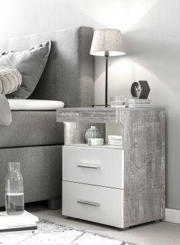 Nachtkastje Bedside 2 laden - wit/beton