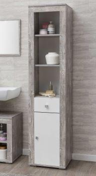 Kolomkast Rutger 1 lade & 1 deur - wit/beton