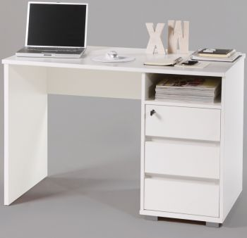 Bureau Primos 110cm met 3 lades - wit