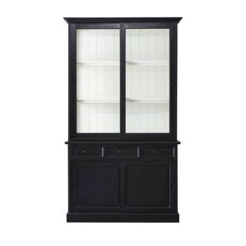Buffetkast Vicenza met 4 deuren & 3 lades - zwart/wit