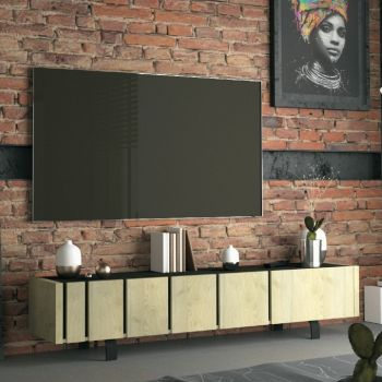 Tv-meubel Rufus 190cm 3 deuren - eik