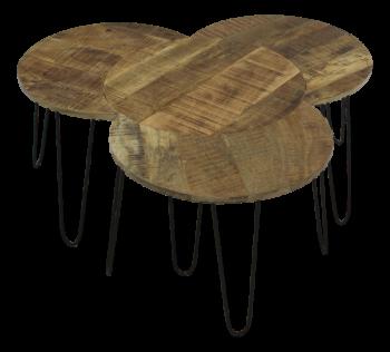 Set van 4 salontafels Ventura - mangohout/ijzer