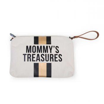 Mommy clutch met strepen - ecru/zwart