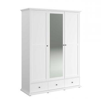 Kledingkast Morgane 152cm met 3 deuren & spiegel - wit