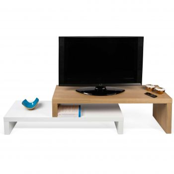 Tv-meubel Cliff 125cm - wit/eik