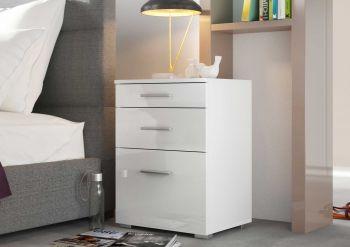 Nachtkastje Bedside 2 laden & 1 deur - hoogglans wit