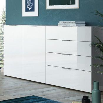 Dressoir Dudek 184cm met 2 deuren & 4 lades - wit