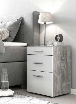 Nachtkastje Bedside 2 laden & 1 deur - wit/beton