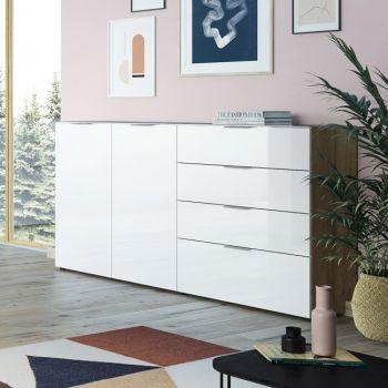 Dressoir Dudek 184cm met 2 deuren & 4 lades - wit/eik