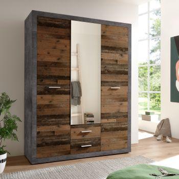 Kledingkast Storck 151cm 3 deuren & 2 lades & spiegel - old style/beton