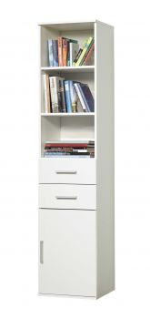 Boekenkast Ronny met 1 deur & 2 laden - wit