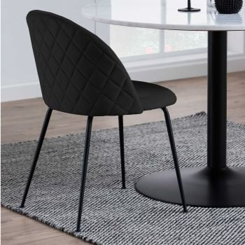Set van 2 gestoffeerde stoelen Isa - zwart