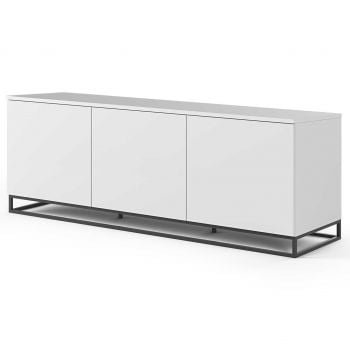 Dressoir Join 180cm laag model met metalen onderstel en 3 deuren - mat wit
