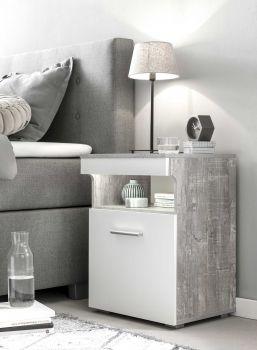 Nachtkastje Bedside 1 deur - wit/beton