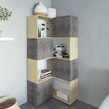 Boekenkast Cleo - beton/eik