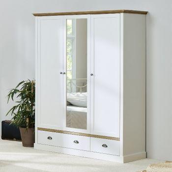 Kledingkast Silia 148cm met 3 deuren & 2 lades - wit/natuur