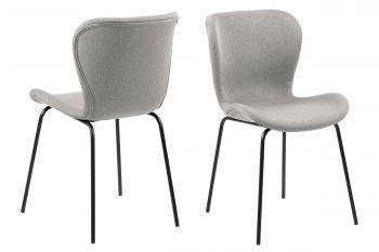 Set van 2 stoffen stoelen Tilda - lichtgrijs/zwart