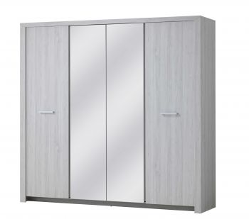 Kledingkast Heaven 214cm met 4 deuren & spiegel - grijze eik