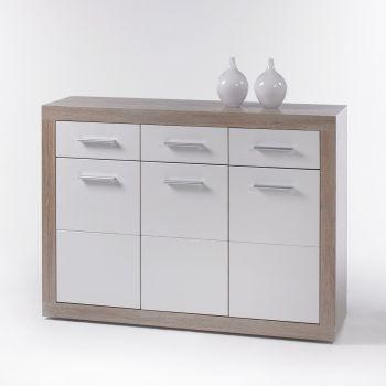 Commode Brekalo 117 cm met 3 deuren & 3 lades - sonoma eik/wit