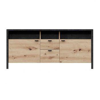 Tv-meubel In-Loft 135cm - oude eik/zwart
