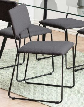 Set van 2 stoffen stoelen Nelly - antraciet/zwart