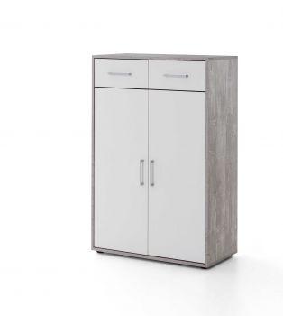 Kast Maxi-office 2 deuren & 2 laden - beton/wit