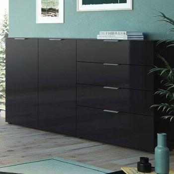 Dressoir Dudek 184cm met 2 deuren & 4 lades - zwart