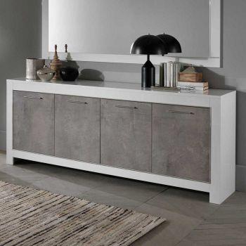 Dressoir Modena 4 deuren - wit/beton