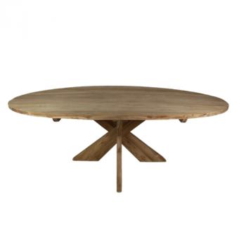 Eettafel Mosy 220x110cm ovaal met kruispoot – naturel/teak
