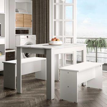 Eettafel Nice met banken - wit/marmer
