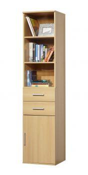 Boekenkast Ronny met 1 deur & 2 laden - beuk