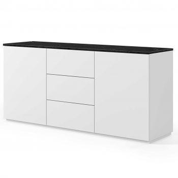 Dressoir Join 180cm met 2 deuren en 3 laden - mat wit/zwart marmer