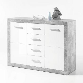 Commode Stanno 117 cm met 2 deuren & 4 lades - beton/wit