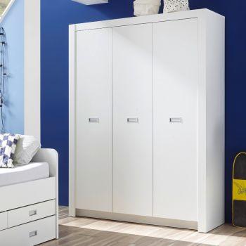 Kledingkast Arkea 137cm met 3 deuren - wit