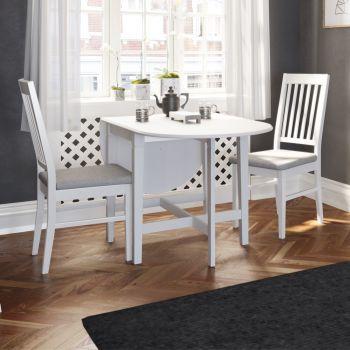 Eettafel Verner met inklapbare zijkanten 166x75 - wit