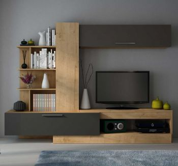 Tv-meubel Zomi 260cm - eik/grafiet