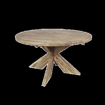 Eettafel Mosy ø150cm rond met kruispoot – naturel/teak
