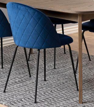 Set van 2 gestoffeerde stoelen Isa - donkerblauw/zwart