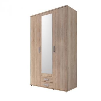Kledingkast Semina 120cm met 3 deuren 2 lades & spiegel - eik