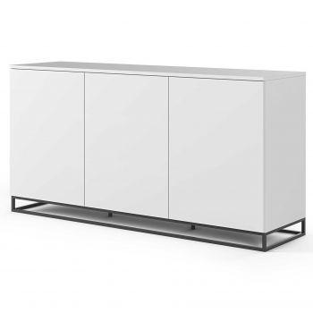 Dressoir Join 180cm hoog model met metalen onderstel en 3 deuren - mat wit